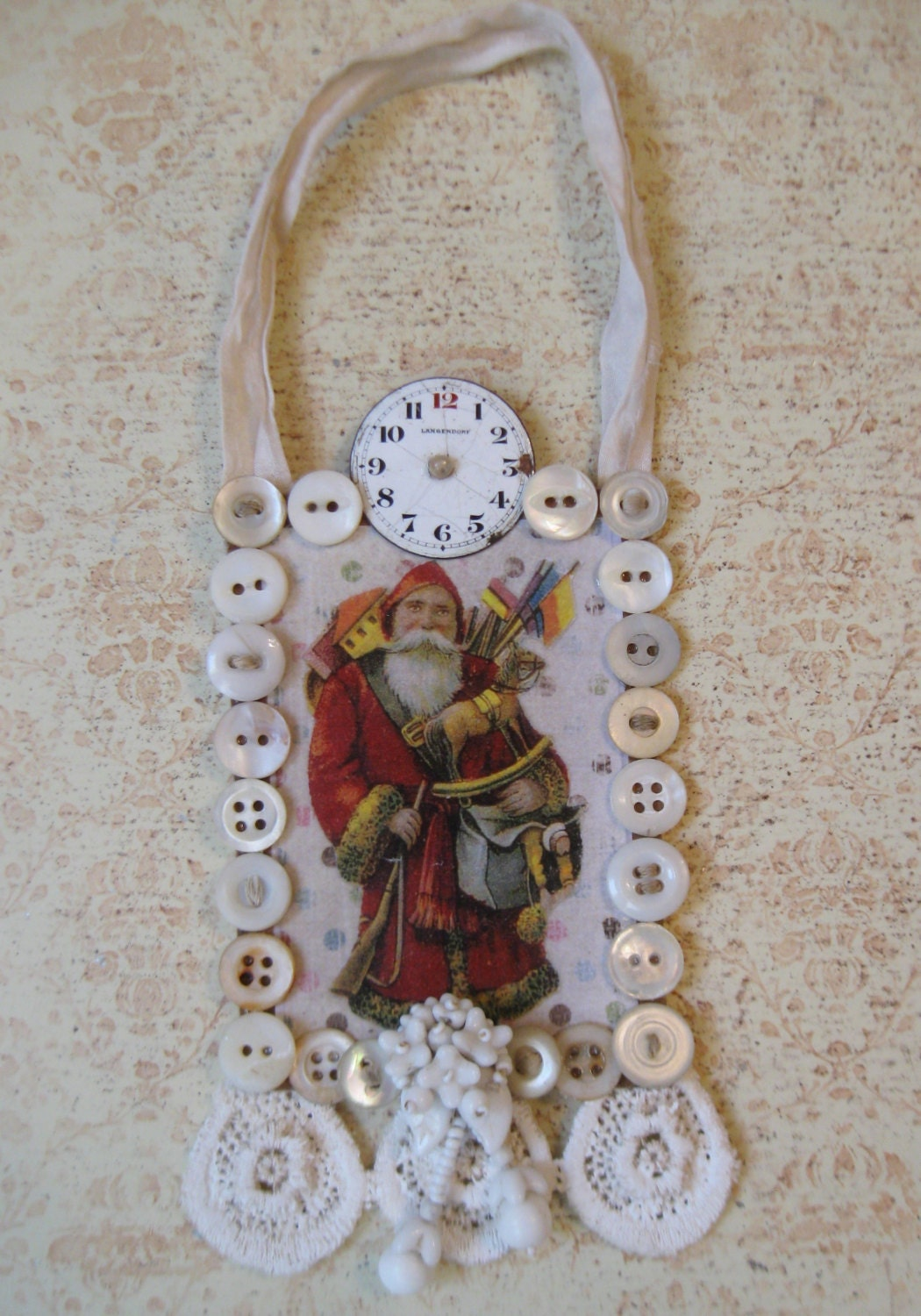 Winter White Vintage Christmas Decoration Santa Father Christmas Shabby Chic Handmade Holiday OOAK Assemblage Repurposed Vintage Nordic