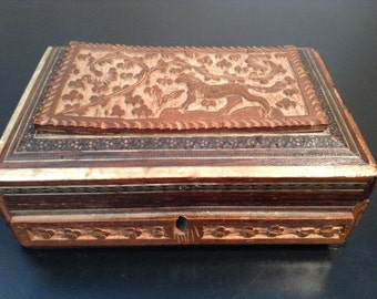 Antique carved wood and bone inlay box from India