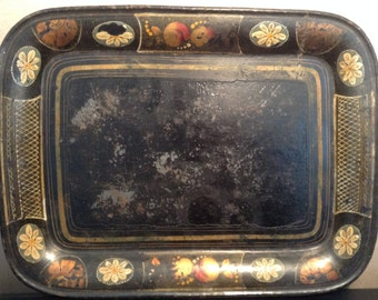 Antique tole painted tray toleware tray early American tole tray with original paint