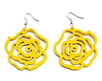 Yellow Rose Wooden Earrings