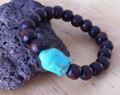 Yogi inspired wood bead mala meditation bracelet with  turquoise Buddha head