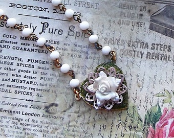 Sweet Heart, Porcelain Rose, Filigree on Vintage Rosary Chain Pendant Necklace