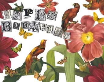 Happy Birthday Card with Birds & Flowers