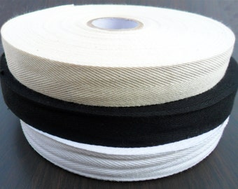 50 meter ( approx. 55 Yards) Solid Woven Twill Cotton Tape Trim 25 mm ( 1 Inch ) Wide  Beige black White