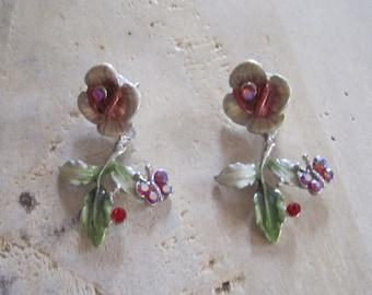 Enamel and rhinestone retro earrings