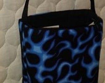 Blue flame cotton cross-body purse-bag