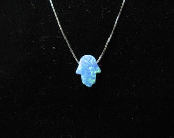 Original Blue Opal Hamsa Hand Necklace with 14K White Gold Chain