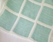 Star Pattern Baby Blanket/Mint Green & White