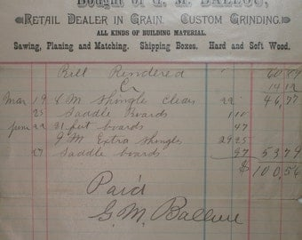 Antique  1896 Receipt - Farm - Saddle Boards
