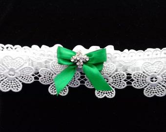 Irish Wedding Garters\Celtic Shamrock Lace\Green Celtic Weddings\Swarovski Four Leaf Clover Pendant
