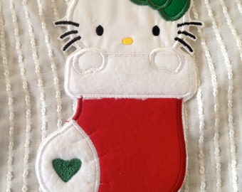 Cute Kitten  Inspired Christmas Iron on Appliqué Patch