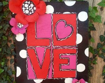 Valentines Door Hanger, Screen Wire Red and Black Love door hanger,