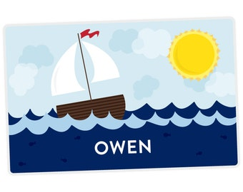 Personalized Placemat for Kids - Sailboat Placemat - laminated, double-sided