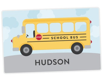 School Bus Placemat - Personalized Placemat for Kids - Childrens Placemat - Set The Table - Laminated Placemat