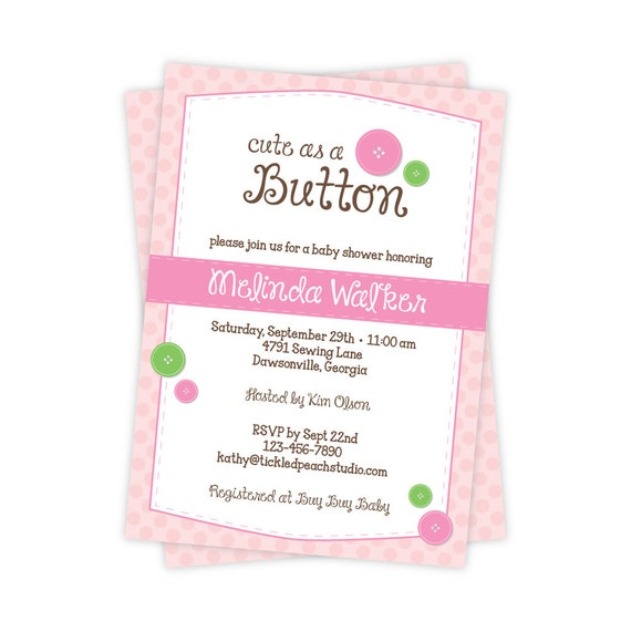 cute as a button baby shower invitation girl baby shower invite