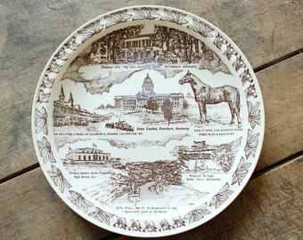 Wall Decor Plate State Souvenir Plate Kentucky Souvenir Plate Vernon Kilns Horses Man O'War Famous Thoroughbred
