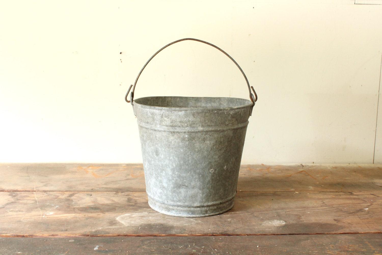 Vintage galvanized bucket planter garden tool by forgottenplum for Galvanized well bucket