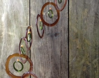 Glass Wind Chimes from RECYCLED bottles, eco friendly ,green, wind chime, garden decor, wind chimes, musical, home decor, mobile