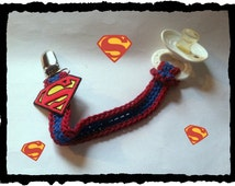 Superman Baby Pacifier Clip Binky Clip Paci Clip Superman Baby Shower Gift Handmade Crochet Made to Order