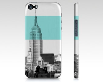 NYC iPhone case /Samsung Galaxy case. New York City, Empire State Building, Turquoise, Blue smartphone case