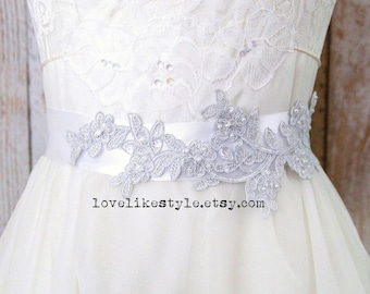Light Silver Pearl Beaded Flower Lace with White Satin Ribbon Sash, Bridal Sash, Bridemaid Sash, Flower Girl Sash, SH-40
