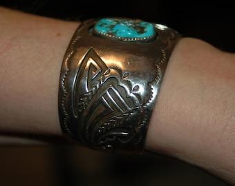 Vintage Navajo Hopi Design Sterling Silver and Sleeping Beauty Turquoise Bracelet - Hallmarked 72 grams
