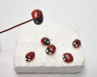 "Ladybugs-Set of 6 Ladybugs-OOAK-1/4"" Diameter Polymer Clay Ladybugs/Comes with wire for flying ladybugs-Set of 6"