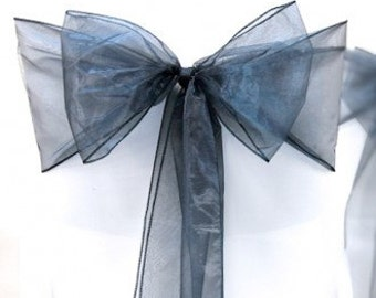 Chair Sashes 150 Wedding Chair Sashes Chair Bows Navy Organza Pew Bows Party Bows Event