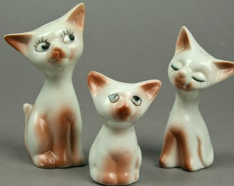 Siamese Cat Family Table Set, Salt & Pepper Shakers with Toothpick Holder