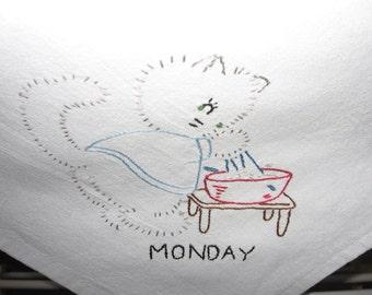 Seven days of the week kitten tea towel