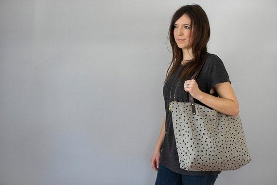 Weekender Tote Bag Linen Carryall Black Polka Dots