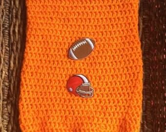 Crochet Orange Cleveland Browns Football Newborn Cocoon Bunting Wrap Sack