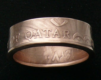 2006 Qatar 10 Daraham coin ring made of bronze, Double Sided and Ring Size 10 1/2