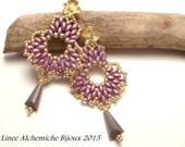 TUTORIAL orecchini a forma di fiore con perline, Orecchini Panse con superduo e rocailles