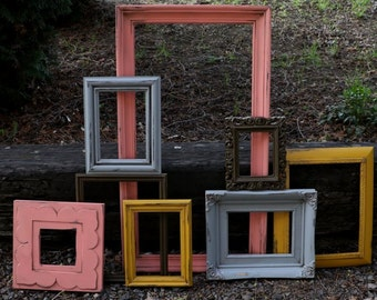 SALE Set of 8 Upcycled Frames - Coral, Gray, Brown, Deep Yellow - Painted Picture Frames - Wall Gallery - Nursery - Wedding - Coral Mustard