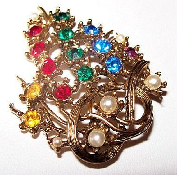 """Christmas Tree Brooch Pin Abstract Design Multi Colored Rhinestones Gold Metal 2"""" Vintage"""