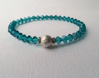 Swarovski crystal bracelet, BLUE ZIRCON, Simple bracelet, December birthstone, Stackable bracelet, Bridesmaids, Turquoise bracelet