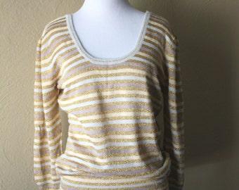 Vintage Fine Knit Gold Striped Sweater