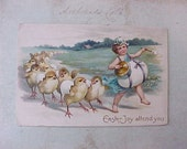 Reserved: Sweet Edwardian Era Easter Postcard with Marching Chicks and Boy