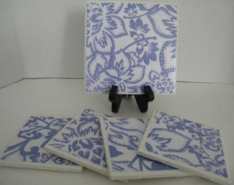 Blue and White Sparkle Nantucket Inspired Kitchen Bar Trivet and 4 Drink Coasters GREAT GIFT IDEA! Wedding Gift!  Bridal Shower!