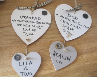 Personalised Father's Day heart plaque, no matter how tall I get