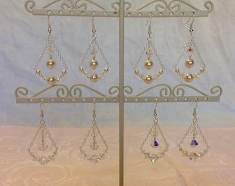 925 Sterling Swarovski Dangle Earrings