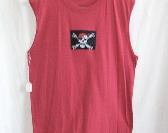 Men's Red Pirate Skull and Cross Bones Muscle Tee Shirt