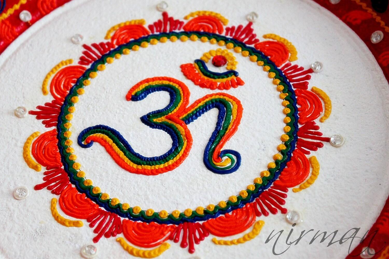 Aum om pooja thali decorative henna mehndi design for Aarti plate decoration