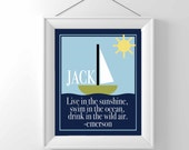 Nautical Nursery Print - INSPIRATIONAL NURSERY QUOTE - Emerson - boy nursery - baby gift - sailboat - swim in the sea - personalized