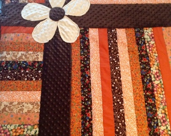 Made to order. Minky flower baby quilt