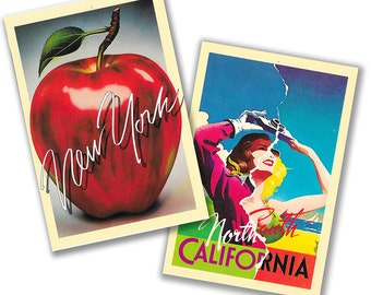 Vintage post cards, New York, the Big Apple, California, Orth and South, 1980