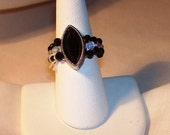 Black diamond shaped stone ring, black, clear 3mm crystal beads for band size 7      FREE SHIPPING USA orders only