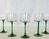 """Wine Glasses Pair of Coupes 5 fl. oz./ 150ml Luminarc' Crystal Emerald Green Stem stands 6 1/2"""""""