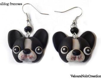French bulldog dog earrings handmade  polymer clay